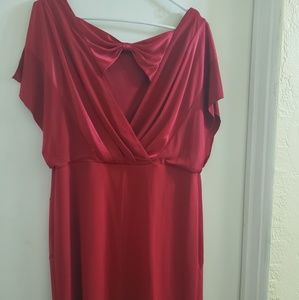 14W Red Bow Back Dress